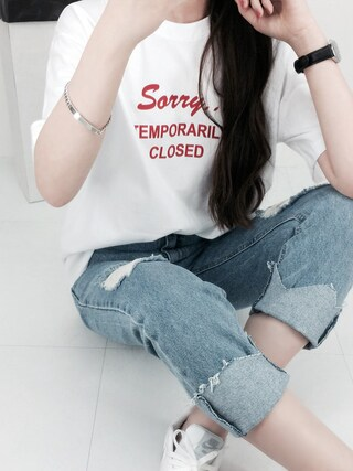 Daily about DAILYABOUTさんの「レタリングプリント半袖Tシャツ(Dailyabout デイリーアバウト)」を使ったコーディネート
