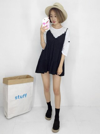 Daily about DAILYABOUTさんの「シャーリングディテールノースリーブワンピース(Dailyabout デイリーアバウト)」を使ったコーディネート