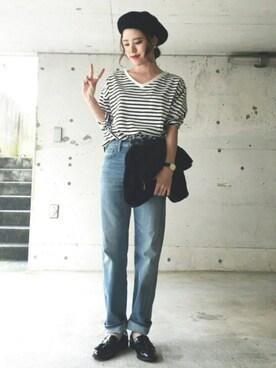 HITOMIさんの「◆・Vネック胸ポケット長袖Tシャツ(E hyphen world gallery)」を使ったコーディネート