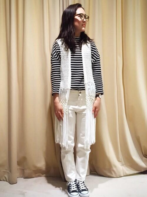 akihoさんの「天竺ボーダードルマンTシャツ(actuel)」を使ったコーディネート