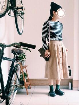 yuuu7さんの「コットンモールスキンフロントボタンスカート(studio CLIP)」を使ったコーディネート