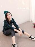 「針織混搭連帽格紋襯衫(ORENDA)」 using this ORENDA looks