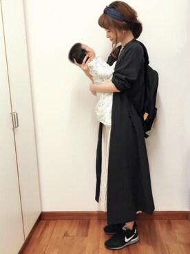 okoさんの「綿麻先染めVラップワンピース【niko and...】(niko and...)」を使ったコーディネート