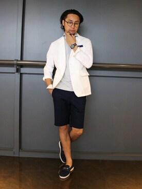 ANOTHER SIDE SQUARE 阪急MEN'S TOKYO店|BOYCOTT グランデュオ立川店 スタッフさんの「チェッカードビーハーフパンツ(BOYCOTT)」を使ったコーディネート