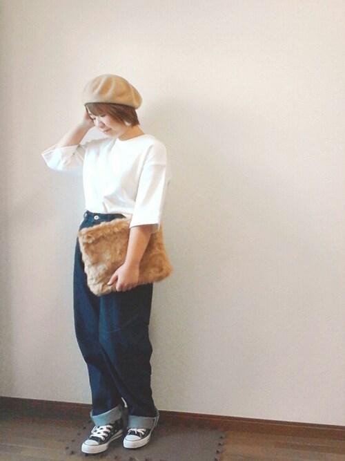 yakkoさんの「<高橋愛さんコラボ>ラブ&ピースプロジェクト パール入りクリアーフープイヤーアクセ <ピアス/イヤリング>(haco!)」を使ったコーディネート