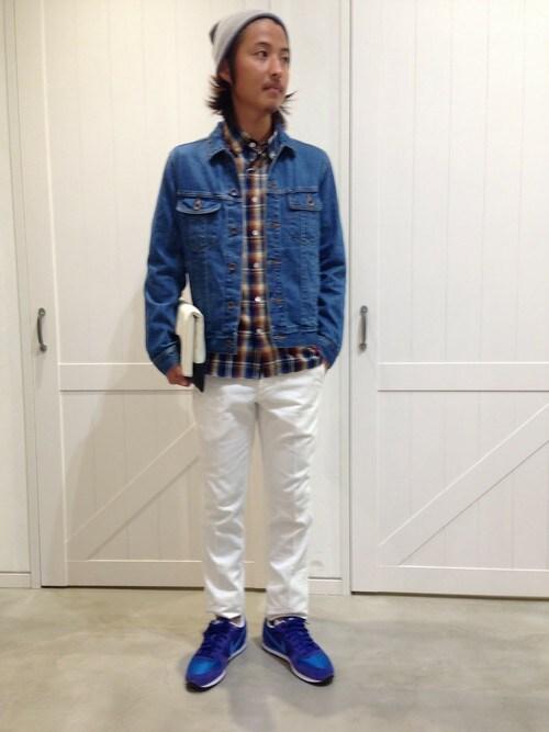 デニムジャケット着こなしメンズのシャツ・ブラウス「MYSELF ABAHOUSE インディゴチェック」を使ったコーディネート