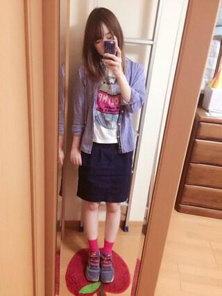 hanaさんの「タック入りデニムコクーンスカート(w closet|ダブルクローゼット)」を使ったコーディネート