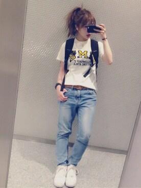 みけさんの「BEAMS BOY / カレッジプリント Tシャツ 16SS(BEAMS BOY|ビームスボーイ)」を使ったコーディネート
