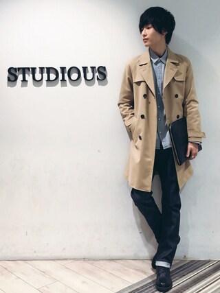 STUDIOUS MENS ルミネエスト新宿店|みっきーさんの「STUDIOUS コットンナイロンダブルクロストレンチコート(STUDIOUS|ステュディオス)」を使ったコーディネート