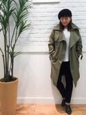 田中淳子さんの「ロングトレンチコート(SHOO・LA・RUE|シューラルー)」を使ったコーディネート