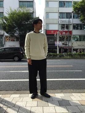 ADAM ET ROPE' 名古屋パルコ|西川卓さんの「【先行予約】ドライタッチMIXヤーン 畦ニット(ADAM ET ROPE')」を使ったコーディネート
