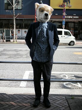 Revelations/|ザッシュ(仮称)さんの「【Revelations/別注】 narifuri Dobby houndstooth tailored jacket(Revelations/|レベレーションズ)」を使ったコーディネート