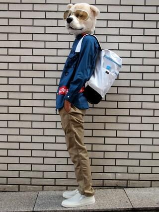 Revelations/|ザッシュ(仮称)さんの「月曜美術倶楽部(Monday Art Club) × TOKYO DEMOCRACY ANARCHY Shirt(Revelations/|レベレーションズ)」を使ったコーディネート