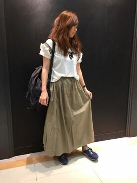 INTERPLANET WINGS 広島皆実店|KOZUUさんの「ビジューテープ袖Tシャツ(INTERPLANET WINGS|インタープラネットウィング)」を使ったコーディネート