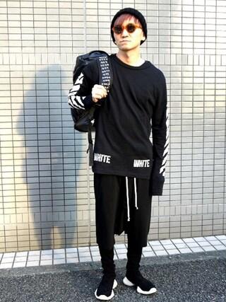 MIDWEST TOKYO MEN|AKKYさんの「off white 『3D WHITE』ロングTシャツ(off white|オフホワイト)」を使ったコーディネート