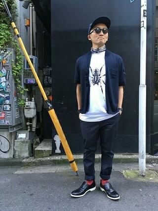 MIDWEST TOKYO MEN|AKKYさんの「603 デニムベースボールキャップ(603|ロクマルサン)」を使ったコーディネート