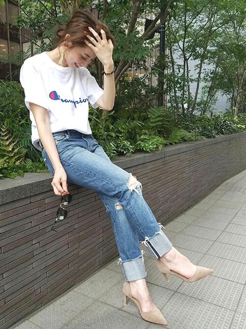 庄司 未菜美さんの「Champion別注ロゴTシャツ(Champion)」を使ったコーディネート