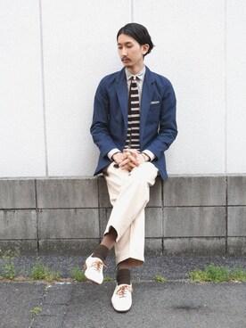 StyleBLeInさんの「UMIT BENAN ノッチドラペルテーラードジャケット(umit benan)」を使ったコーディネート