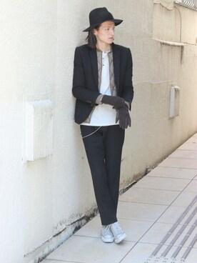 LOUNGE LIZARD|LOUNGELIZARDTOKYOさんの「WOOL STRIPE 2Bジャケット(LOUNGE LIZARD)」を使ったコーディネート