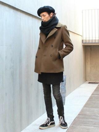 LOUNGE LIZARD|LOUNGELIZARDTOKYOさんの「W CLOTH MELTON Pコート(LOUNGE LIZARD|ラウンジリザード)」を使ったコーディネート