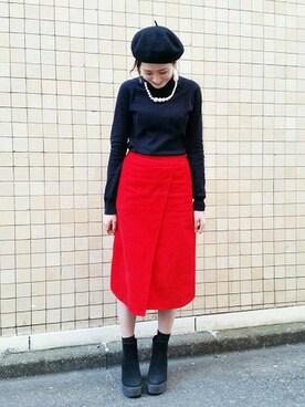 ふりふ渋谷店|eriさんの「カラーコーデュロイスカート(ふりふ)」を使ったコーディネート