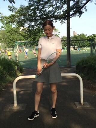 阿久津ゆりえさんの「コットン100%ピケ ポロシャツ (半袖)(LACOSTE|ラコステ)」を使ったコーディネート