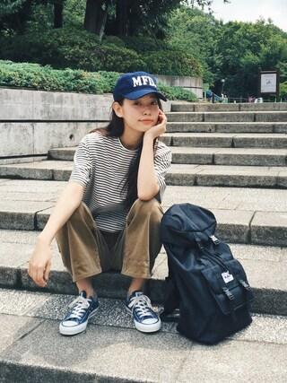 阿久津ゆりえさんの「BB CAP MFD(MILKFED.|ミルクフェド)」を使ったコーディネート