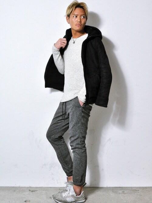 EDIJAM | T.JUAN.YASUSHIさんのニット・セーター「H&M 白ニット」を使ったコーディネート