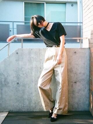 斎藤有沙さんの「HanesジャパンフィットVネックTシャツ2枚組(ブラック)/Hanes 2P JPNfit V/N-T BK(Another Edition|アナザーエディション)」を使ったコーディネート