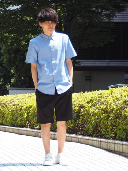 Ryoさんの「【ZOZO限定】 STUDIOUS オーガニックコットンカラーオックス半袖シャツ -made in japan-(STUDIOUS)」を使ったコーディネート