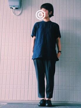 marumaru5656さんの「MEN プレミアムリネンスタンドカラーシャツ(長袖)(ユニクロ|ユニクロ)」を使ったコーディネート