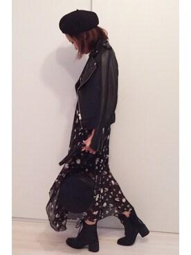 a.megumiさんの「レザーライダースジャケット(TODAYFUL|トゥデイフル)」を使ったコーディネート