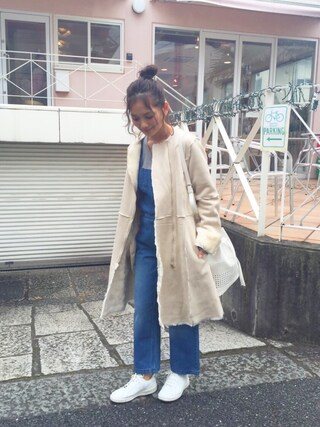 武智志穂さんの「フェイクムートンコート【2015冬新作】(thpry+color|スプリーカラー)」を使ったコーディネート