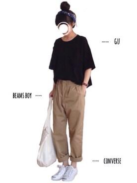 tumさんの「(GU)クロップドゆるT(半袖)(GU|ジーユー)」を使ったコーディネート