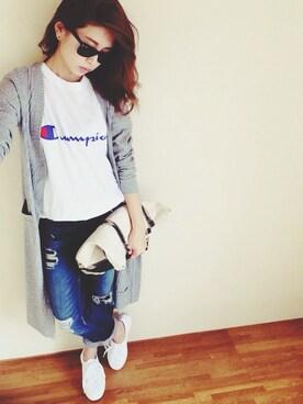yamaさんの「WEGO/CHAMPION別注Tシャツ(Champion)」を使ったコーディネート