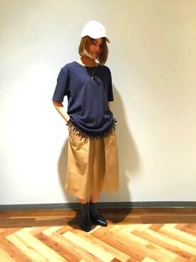 RAGEBLUE横浜ビブレ店|目黒さんの「<トレンドのフリンジ仕様>40/2フリンジTシャツ/722272(RAGEBLUE)」を使ったコーディネート