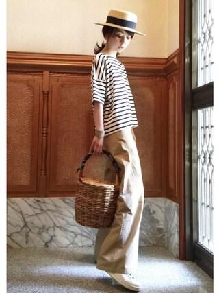 ari☆さんの「雑材カンカン帽(FREE'S MART|フリーズマート)」を使ったコーディネート