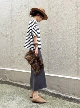ari☆さんの「WOMEN メリノブレンドリブスカート(UNIQLO|ユニクロ)」を使ったコーディネート