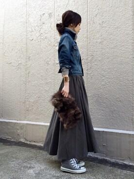 ari☆さんの「デザインスカート(antiqua|ジーユー)」を使ったコーディネート