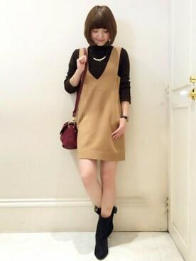 MINIMUM|minimum神戸マルイstaffさんの「深Vネックジャンパースカート(MINIMUM)」を使ったコーディネート