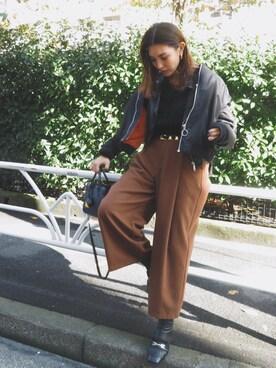 MURUA本部|小竹麻美さんの「タックワイドパンツ(MURUA)」を使ったコーディネート
