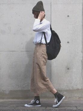 mai_haruさんの「WOMEN コットンワイドパンツ(ハイライズ)(ユニクロ)」を使ったコーディネート