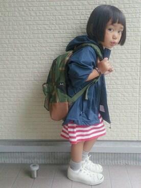 tsugumonさんの「marimekko / PITKAHIHA ボーダー ロングT  (116~128cm)(こども ビームス|コドモビームス)」を使ったコーディネート