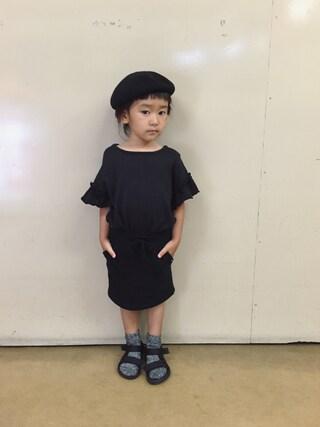 tsugumonさんの「FRILL SLEEVE T(80~140cm)(MARKEY'S|マーキーズ)」を使ったコーディネート