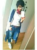 ★yuki★さんの「オリジナルチェック5Tハンカチ【niko and...】(niko and... ニコアンド)」を使ったコーディネート
