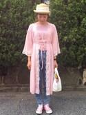 yukiさんの「【override】M Straw* Porkpie/オーバーライド ストローポークパイハット(milsa ミルサ)」を使ったコーディネート
