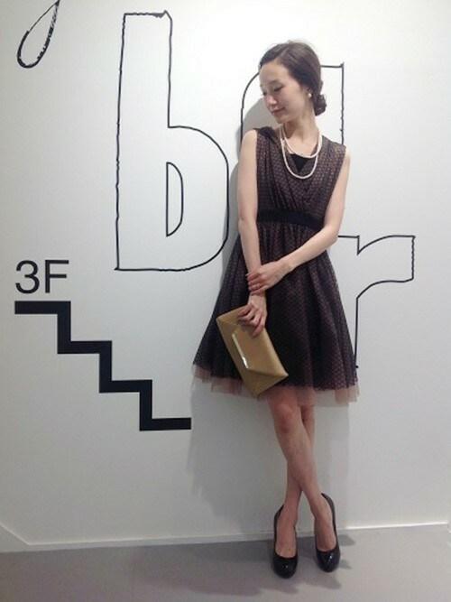 フレアチュールノースリーブドレス参考コーディネート画像