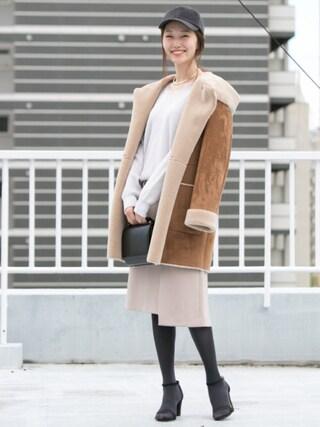 「UR 衿レースVネックニット(URBAN RESEARCH)」 using this mio looks