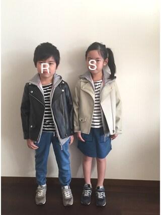 R♡Sさんの「【WEB限定】ボーダーボートネックTシャツ(CIAOPANIC TYPY チャオパニックティピー)」を使ったコーディネート