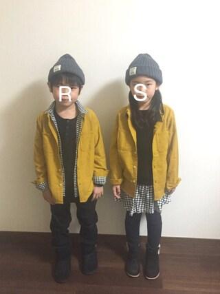 R♡Sさんの「プリントネルシャツ(80~150cm)(MARKEY'S マーキーズ)」を使ったコーディネート